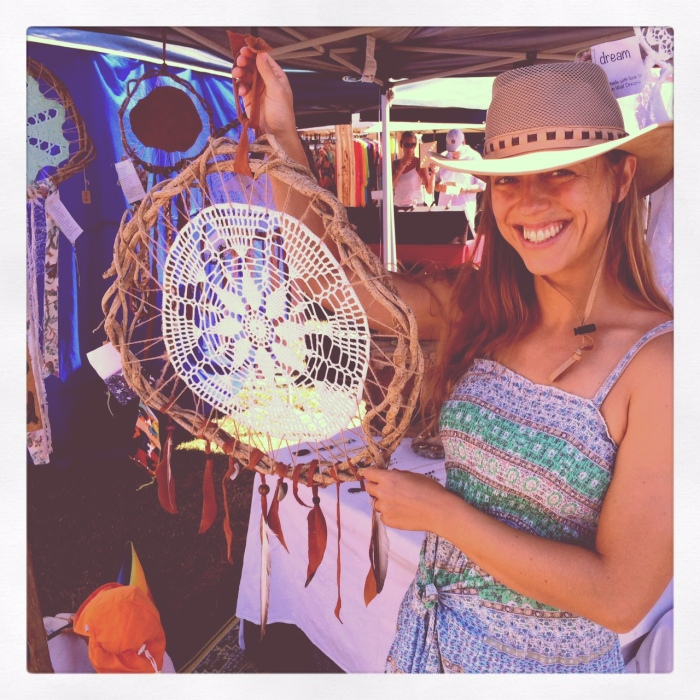 customer with her  Earth Mother sea Gypsy Treasures Dream Catcher